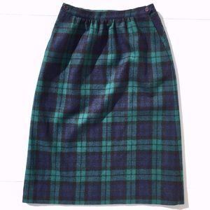 Vintage Blackwatch Plaid Skirt 100% Wool w/Pockets
